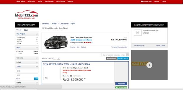 mobil123 hasilpencarian berdasar harga